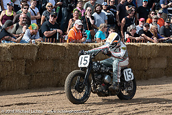 Scott Johnson (15) with his 1942 Harley-Davidson WLA Flathead at the JJ Flairty (45) on his 1993 HD Sportster in the Bradford Beach Brawl, a TROG style beach racing event, during the Harley-Davidson 115th Anniversary Celebration event. Milwaukee, WI. USA. Saturday September 1, 2018. Photography ©2018 Michael Lichter.