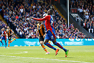 Crystal Palace striker Christian Benteke takes the ball down on his chest during the Premier League match between Crystal Palace and Hull City at Selhurst Park, London, England on 14 May 2017. Photo by Andy Walter.