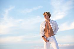 hot blond man with an open shirt