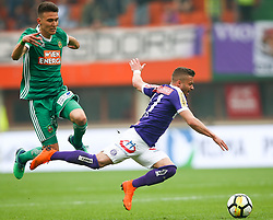 15.04.2018, Ernst Happel Stadion, Wien, AUT, 1. FBL, FK Austria Wien vs SK Rapid Wien, 30. Runde, im Bild Dejan Ljubicic (SK Rapid Wien) und Lucas Henrique Ferreira Venuto (FK Austria Wien) // during Austrian Football Bundesliga Match, 30th Round, between FK Austria Vienna and SK Rapid Wien at the Ernst Happel Stadion, Vienna, Austria on 2018/04/15. EXPA Pictures © 2018, PhotoCredit: EXPA/ Thomas Haumer