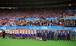 Croatian Team singing the national song before the UEFA EURO 2008 Group B soccer match between Austria and Croatia at Ernst-Happel Stadium, on June 8,2008, in Vienna, Austria.  (Photo by Vid Ponikvar / Sportal Images)