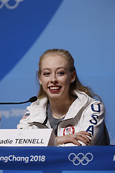 February 18, 2018 - Pyeongchang, KOREA - United States figure skater Bradie Tennell at press conference during the Pyeongchang 2018 Olympic Winter Games at Kwandong Hockey Centre. Finland beat Sweden 7-2. (Credit Image: © David McIntyre via ZUMA Wire)