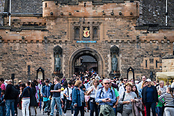 Many tourists at entrance to Edinburgh Castle in summer 2016, Edinburgh, United Kingdom