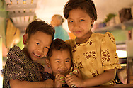 Friendly Burmese minority girls on a train. Myanmar (Burma)