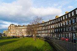 View of Gardener's Crescent garden and street in Edinburgh West End, Scotland, United Kingdom
