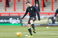 Forest Green Rovers Christian Doidge(9) warming up during the EFL Sky Bet League 2 match between Stevenage and Forest Green Rovers at the Lamex Stadium, Stevenage, England on 26 January 2019.