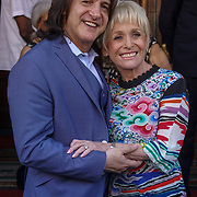 London,England,UK, 25th May 2017. Scott Mitchell,Barbara Windsor unveils plaque as theatre launches walk of fame celebrating East London's cultural legacy with plaques also dedicated to Frank Matcham and Oswald Stoll at Hackney Empire,London.UK. by See Li