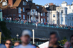 © Licensed to London News Pictures. 03/07/2018. Brighton, UK. England fans line the streets outside the big screen area to watch the the World Cup second round match between England and Colombia on a big screen on Brighton beach, on the south coast of England. Photo credit: Ben Cawthra/LNP