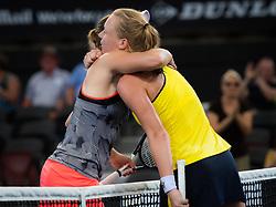 December 31, 2018 - Brisbane, AUSTRALIA - Elise Mertens of Belgium & Kiki Bertens of the Netherlands at the net after their first-round match at the 2019 Brisbane International WTA Premier tennis tournament (Credit Image: © AFP7 via ZUMA Wire)