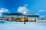 The Mammoth Hot Springs Hotel at dusk in winter in Yellowstone National Park, Wyoming, USA
