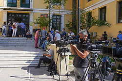© Licensed to London News Pictures. 18/06/2021. Athens, Greece. Greek media gather outside a magistrate's office in Athens. Babis Anagnostopoulos confessed he killed his wife after she threatened to leave him and take their 11-month-old daughter with her following an argument. Photo credit: Ioannis Alexopoulos/LNP