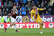 Johann Gudmundsson of Burnley (l) shoots and scores his teams 2nd goal. Premier League match, Burnley v Crystal Palace at Turf Moor in Burnley , Lancs on Saturday 5th November 2016.<br /> pic by Chris Stading, Andrew Orchard sports photography.