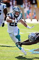 Carolina Panthers running back Christian McCaffrey (22) runs the ball against the Las Vegas Raiders during an NFL football game Sunday, Sept. 13, 2020, in Charlotte, N.C<br /> <br /> Tom DiPace via AP