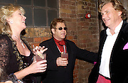 Louise Fennell, Sir Elton John and theo Fennell, Theo Fennell party to celebrate their 21st Anniversary. The Collection. 28 October 2003. © Copyright Photograph by Dafydd Jones 66 Stockwell Park Rd. London SW9 0DA Tel 020 7733 0108 www.dafjones.com