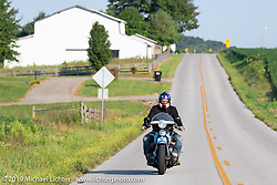 CCC event promoter Jason Sims riding his 1946 Harley-Davidson Model U Flathead in his Cross Country Chase motorcycle endurance run from Sault Sainte Marie, MI to Key West, FL (for vintage bikes from 1930-1948). Stage 5 had riders cover 213 miles from Bowling Green, KY to Chatanooga, TN USA. Tuesday, September 10, 2019. Photography ©2019 Michael Lichter.