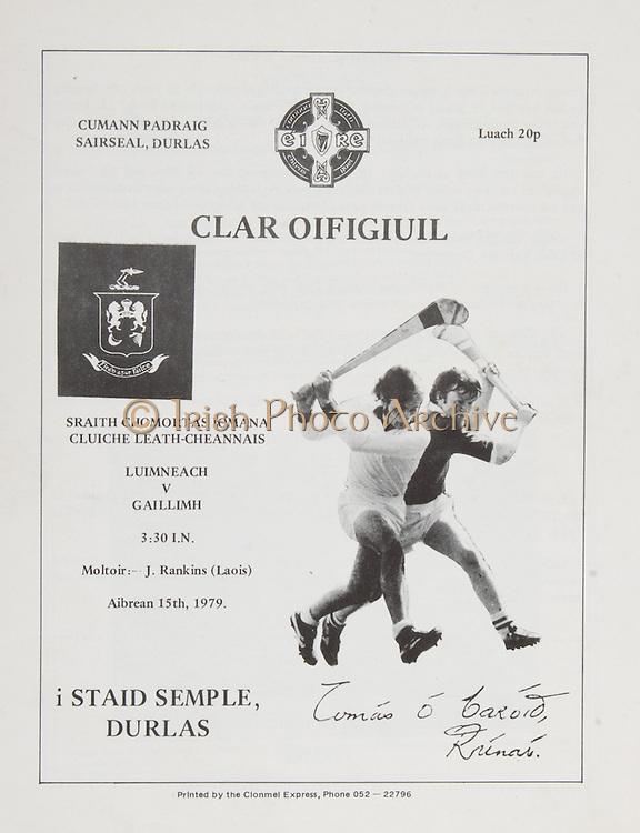 All Ireland Hurling Semi-Final.Limerick v Galway.Thurles, Co. Tipperary.15th April 1979.15.04.1979 GAA Program