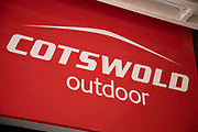 Sign for the outdoor clothing brand Cotswold Outdoor in Birmingham, United Kingdom.