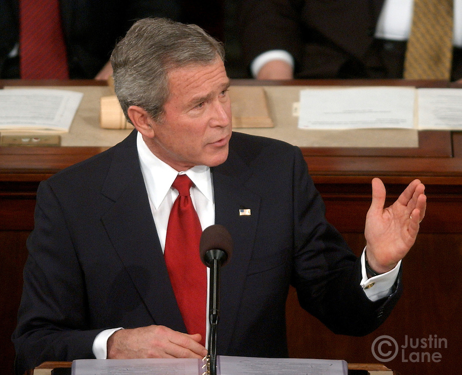 United States President George W. Bush delivers his 2005 State of the Union address at the US Capitol in Washington, DC Wednesday 2 February 2005.