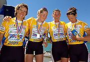 2005 FISA Rowing World Cup Munich,GERMANY. 19.06.2005; Gold medal winners women's quad [GBR W4X] left Kathrine Grainger, Frances Houghton, Sarah Winckless and Rebecca Romero. after receiving their Gold medals..Photo  Peter Spurrier. .email images@intersport-images.[Mandatory Credit Peter Spurrier/ Intersport Images] Rowing Course, Olympic Regatta Rowing Course, Munich, GERMANY