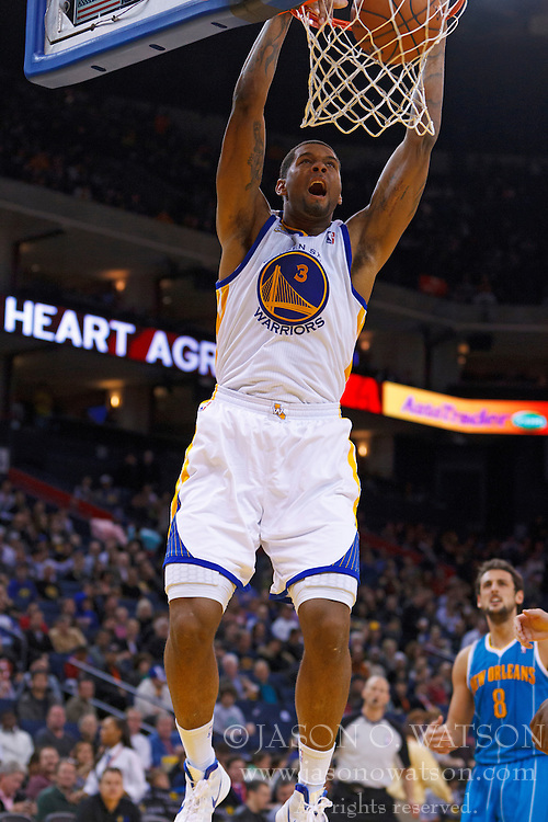 Mar 28, 2012; Oakland, CA, USA;  Golden State Warriors forward Jeremy Tyler (3) dunks against the New Orleans Hornets during the third quarter at Oracle Arena. New Orleans defeated Golden State 102-87. Mandatory Credit: Jason O. Watson-US PRESSWIRE