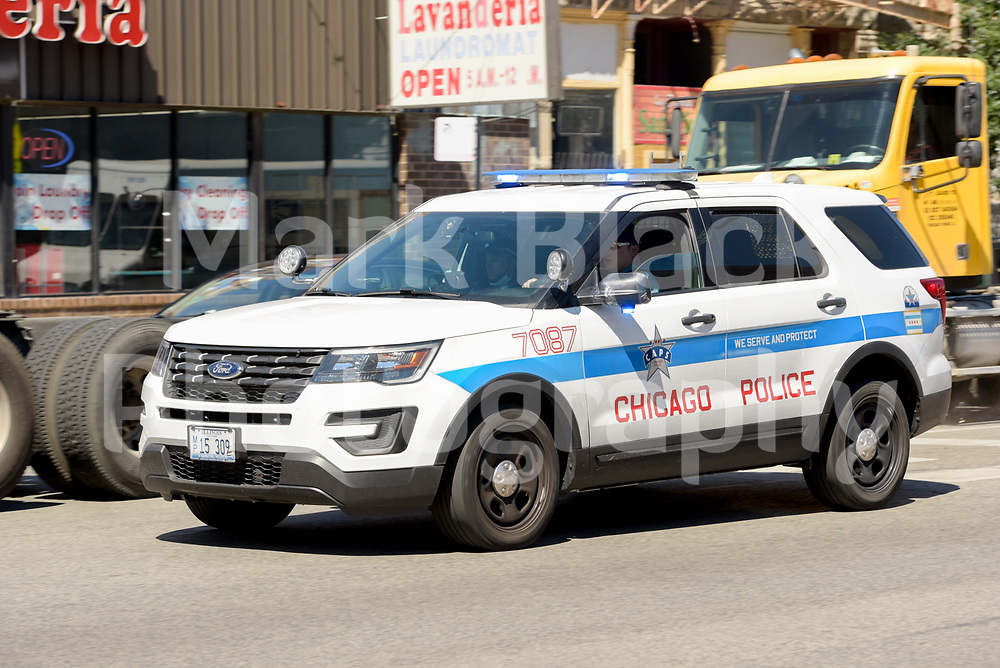 A Chicago Police vehicle on Ashland Avenue in the Pilsen neighborhood of Chicago on Wednesday, Aug. 19, 2020.  Photo by Mark Black