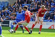 Cardiff's Junior Hoilett (l) is challenged by Nottingham's Daniel Fox (13). EFL Skybet championship match, Cardiff city v Nottingham Forest at the Cardiff City Stadium in Cardiff, South Wales on Easter Monday 17th April 2017.<br /> pic by Carl Robertson, Andrew Orchard sports photography.
