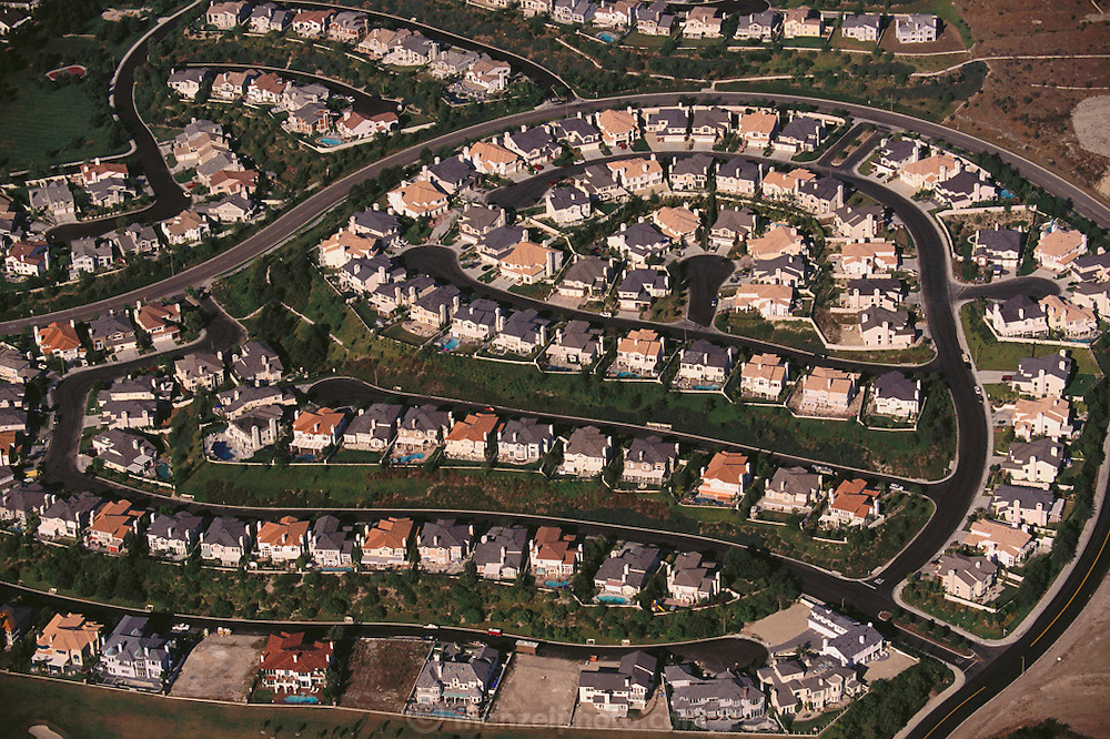 Aerial photograph of Mission Viejo housing subdivisions in Orange County, California.