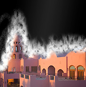 Fantasy Castle in dust storm