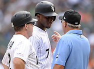 CHICAGO - AUGUST 14:  Tim Anderson #7 of the Chicago White Sox talks to third base umpire Ben May #97 during the game against the Houston Astros on August 14, 2019 at Guaranteed Rate Field in Chicago, Illinois.  (Photo by Ron Vesely/MLB Photos via Getty Images)  *** Local Caption *** Tim Anderson; Ben May