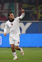 "Francesco Totti (Roma) festeggia il primo gol salutando la moglie Ilary Blasi in tribuna<br /> <br /> Italian ""Serie A"" 2006-07 <br /> <br /> 11 November 2006 (Match Day 11) <br /> <br /> Milan Roma (1-2) <br /> <br /> ""Giuseppe Meazza"" Stadium-Milano-Italy <br /> <br /> Photographer Andrea Staccioli INSIDE"
