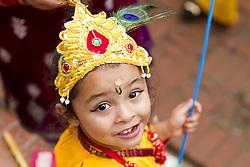 Aug. 14, 2017 Lalitpur, Nepal - A Nepalese boy dressed as lord Krishna celebrates Krishna Janmashtami festival in Patan, Lalitpur, Nepal. Krishna Janmashtami festival, which marks the birthday of Hindu god Krishna, is celebrated annually.  (Credit Image: © Aishu Mathema/Xinhua via ZUMA Wire)