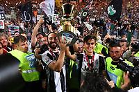 Celebrazione Coppa Juventus vince il trofeo, Celebration Cup Juventus Wins the trophy Gonzalo Gerardo Higuain Juventus Paulo Dybala Juventus   <br /> Roma 17-05-2017 Stadio Olimpico.<br /> Football Calcio Finale Coppa Italia / Italy's Cup Final 2016/2017. Juventus - Lazio<br /> Foto Cesare Purini / Insidefoto