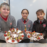 Rebecca Anderson, Serine Amrane and Nadine Nedjari selling treats for the Jessies Fruity Express showcase day at Ennis National school
