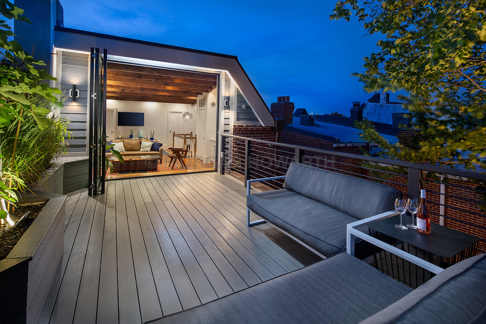 416 T Street Kitchen,Exterior deck at twilight VA 2-174-311
