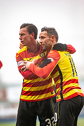 Partick Thistle's Scott McDonald cele scoring their goal. Falkirk 1 v 1 Partick Thistle, Scottish Championship game played 16/3/2019 at The Falkirk Stadium.