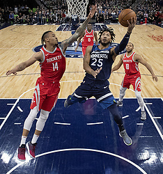 April 23, 2018 - Minneapolis, MN, USA - Minnesota Timberwolves' Derrick Rose (23) attempts a shot while being defended by the Houston Rockets' Gerald Green (14) in the first half in Game 4 of their series Monday, April 23, 2018 at the Target Center in Minneapolis, Minn. The Rockets won, (Credit Image: © Carlos Gonzalez/TNS via ZUMA Wire)