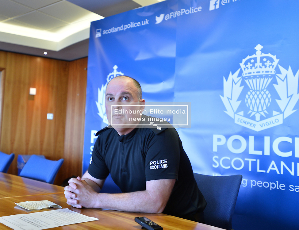 Chief Inspector Steven Hamilton who is leading the hunt for missing St Andrews student Duncan Sim (19), held a press conference at St Andrews University to appeal for help in tracing the Borders student, who has been missing since March 14.<br /> <br /> © Dave Johnston/ EEm