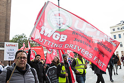 London, UK. 30th October, 2018. Members and supporters of the Independent Workers of Great Britain (IWGB) trade union march together with other precarious workers from the offices of Transport for London to the University of London via the Court of Appeal in support of Uber drivers who are seeking employment rights. The Court of Appeal will today hear an appeal by Uber against a ruling that its drivers are employees rather than self-employed workers.