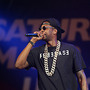 """Rapper 2 Chainz performs prior to the official weigh-ins for the Mayweather versus Maidana boxing match slated as """"The Moment"""", at the MGM Grand hotel on Friday, May 2, 2014 in Las Vegas, Nevada.  (AP Photo/Alex Menendez)"""