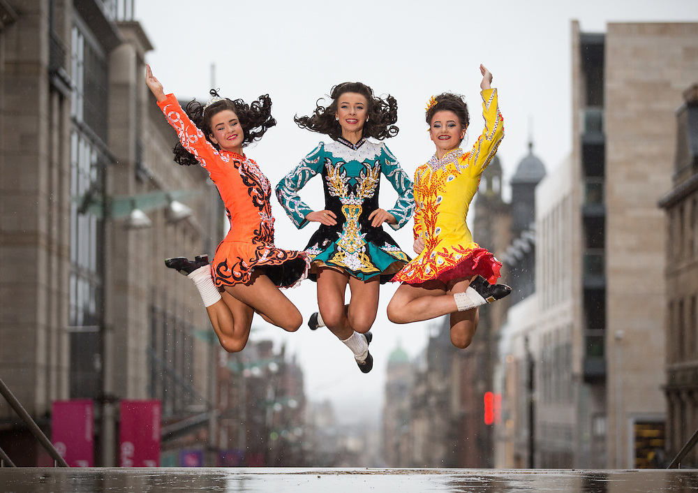 Irish Dancers. L to R : Siobhan Boles, Gillian Crowe and Dara Venning of the McLaughlin School of Irish Dance outside the Glasgow Royal Concert Hall.  Thousands of dancers will be in Glasgow for the start of the annual Irish dancing contests. Around 1800 dancers and 4000 spectators from around the world will be competing in the All Scotland Championships in Irish Dance, which starts tomorrow. Teams from France, Russia, USA, Australia and Canada compete in the 4 day event at the Royal Concert Hall in Glasgow. It is the last event on the Irish Dancing calendar ahead of the World Championships, also held in Glasgow in March. Picture Robert Perry 16th Feb 2016<br /> <br /> Must credit photo to Robert Perry<br /> <br /> FEE PAYABLE FOR REPRO USE<br /> FEE PAYABLE FOR ALL INTERNET USE<br /> www.robertperry.co.uk<br /> NB -This image is not to be distributed without the prior consent of the copyright holder.<br /> in using this image you agree to abide by terms and conditions as stated in this caption.<br /> All monies payable to Robert Perry<br /> <br /> (PLEASE DO NOT REMOVE THIS CAPTION)<br /> This image is intended for Editorial use (e.g. news). Any commercial or promotional use requires additional clearance. <br /> Copyright 2016 All rights protected.<br /> first use only<br /> contact details<br /> Robert Perry     <br /> 07702 631 477<br /> robertperryphotos@gmail.com<br />         <br /> Robert Perry reserves the right to pursue unauthorised use of this image . If you violate my intellectual property you may be liable for  damages, loss of income, and profits you derive from the use of this image.
