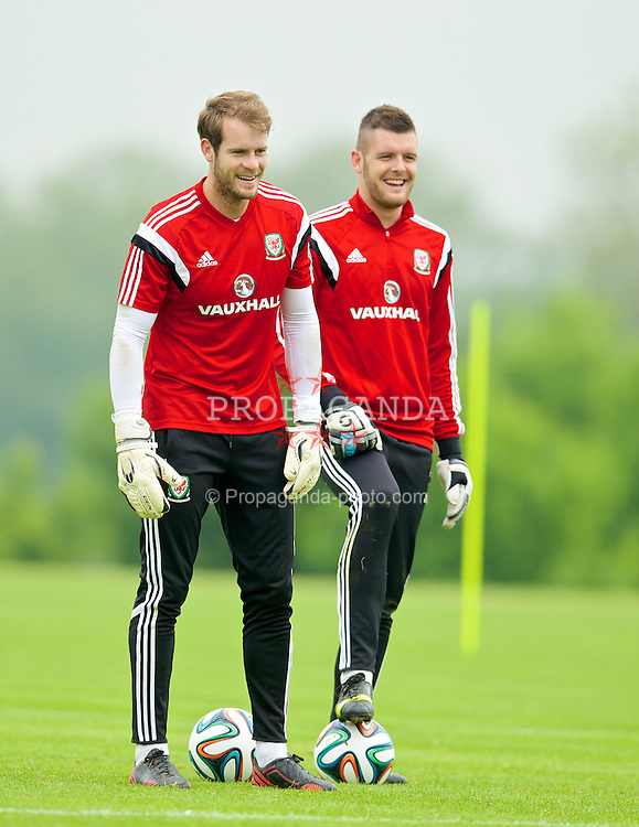ASHBY DE LA ZOUCH, ENGLAND - Saturday, May 31, 2014: Wales' goalkeeper Owain Fon Williams and goalkeeper Connor Roberts during a training session at Champneys Springs ahead of the International Friendly match against the Netherlands. (Pic by David Rawcliffe/Propaganda)