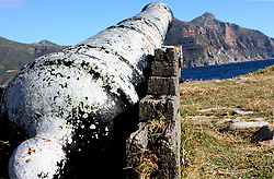 War Ship Cannon at Hout Bay Harbour, Cape Town.