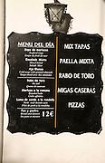 Menu of the day restaurant board close up, Ronda, Spain