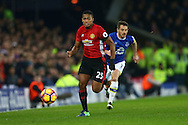 Luis Antonio Valencia of Manchester United gets past Leighton Baines of Everton. Premier league match, Everton v Manchester United at Goodison Park in Liverpool, Merseyside on Sunday 4th December 2016.<br /> pic by Chris Stading, Andrew Orchard sports photography.