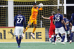 September 22, 2018 - Foxborough, MA, U.S. - FOXBOROUGH, MA - SEPTEMBER 22: Chicago Fire goalkeeper Richard Sanchez (33) makes a save during a match between the New England Revolution and the Chicago Fire on September 22, 2018, at Gillette Stadium in Foxborough, Massachusetts. The teams played to a 2-2 draw. (Photo by Fred Kfoury III/Icon Sportswire) (Credit Image: © Fred Kfoury Iii/Icon SMI via ZUMA Press)