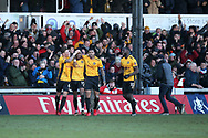 Shawn McCoulsky of Newport county (15) celebrates with his teammates after he  scores his teams 2nd goal to make it 2-1.. Emirates FA Cup , 3rd round match, Newport county v Leeds Utd at Rodney Parade in Newport, South Wales on Sunday 7th January 2018.<br /> pic by Andrew Orchard,  Andrew Orchard sports photography.