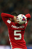 Marcos Rojo of Manchester Utd takes a throw-in. EFL Cup Final 2017, Manchester Utd v Southampton at Wembley Stadium in London on Sunday 26th February 2017. pic by Andrew Orchard, Andrew Orchard sports photography.