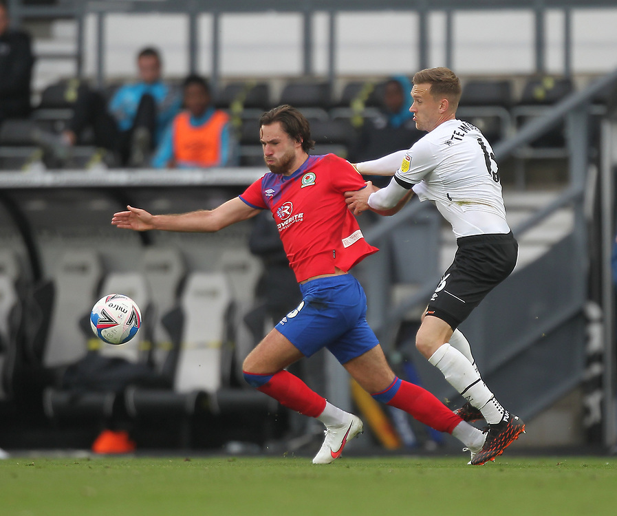 Blackburn Rovers' Ben Brereton  in action with  Derby County's Mike te Wierik<br /> <br /> Photographer Mick Walker/CameraSport<br /> <br /> The EFL Sky Bet Championship - Derby County v Blackburn Rovers - Saturday 26th September 2020 - Pride Park Stadium - Derby <br /> <br /> World Copyright © 2020 CameraSport. All rights reserved. 43 Linden Ave. Countesthorpe. Leicester. England. LE8 5PG - Tel: +44 (0) 116 277 4147 - admin@camerasport.com - www.camerasport.com