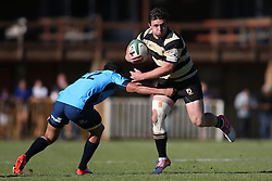 Francois Esterhuyzen of Boland attempts to get past Divan Rossouw of the Blue Bulls during the Currie Cup premier division match between the Boland Cavaliers and The Blue Bulls held at Boland Stadium, Wellington, South Africa on the 23rd September 2016<br /> <br /> Photo by:   Shaun Roy/ Real Time Images