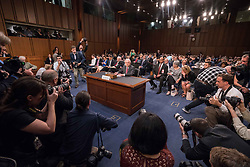 June 13, 2017 - Washington, District of Columbia, U.S. - Attorney General JEFF SESSIONS  takes his seat prior to testifying before the Senate Committee on Intelligence about Russian interference in the 2016 presidential election at the Hart Senate Office Building. Many questions from Senators were regarding Sessions recusing himself from the Russia investigation. (Credit Image: © Ken Cedeno via ZUMA Wire)